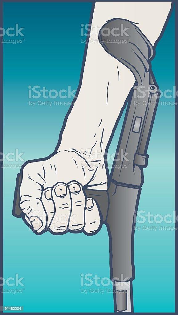 run in crutch vector art illustration