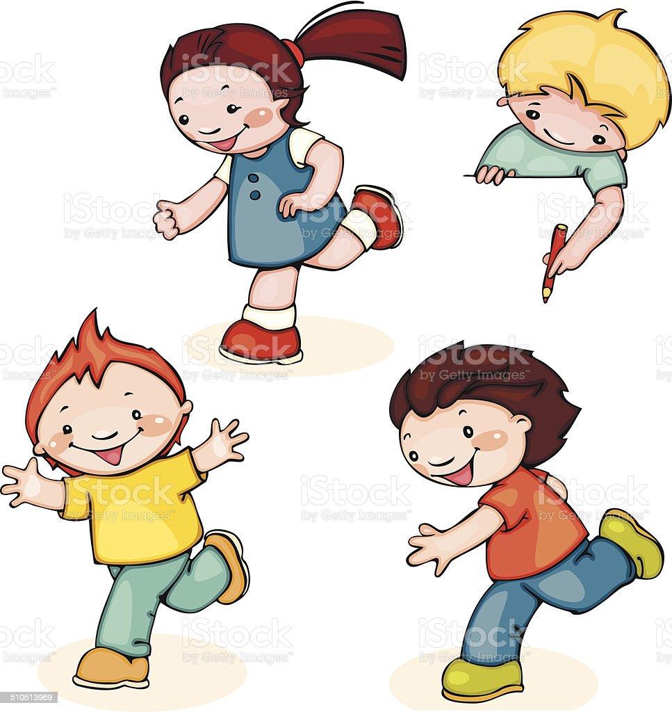 run kids vector art illustration