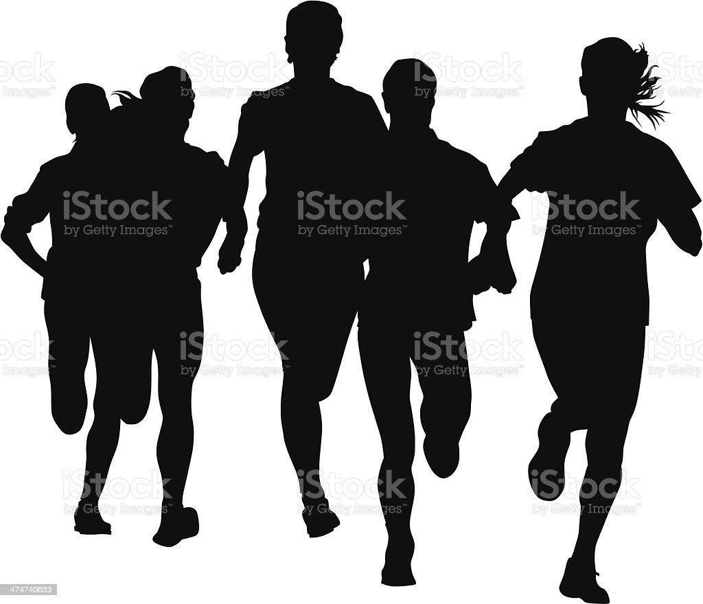 Run sports woman vector art illustration