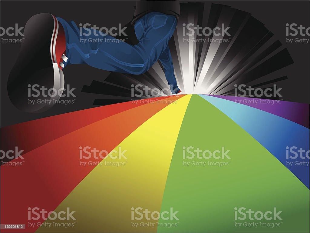 run through rainbow vector art illustration