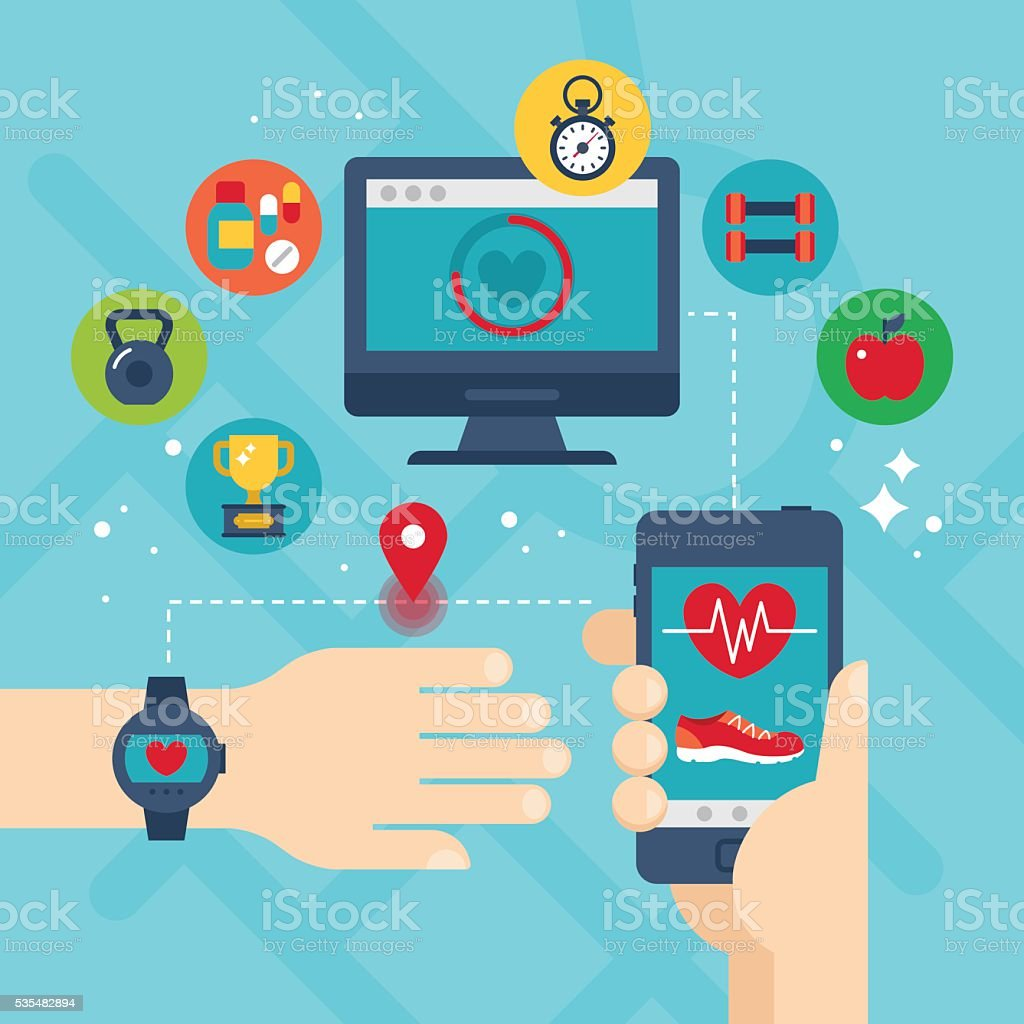 Run tracking app with smartphone, smart watch and fitness icons. vector art illustration