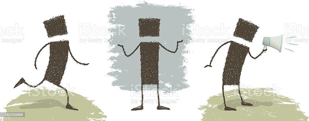 Run!, What?, Oeeee! vector art illustration