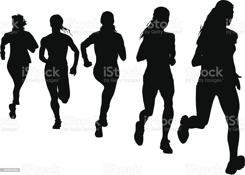 Run women vector art illustration