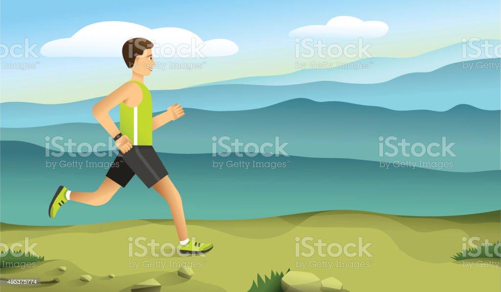 runner in the mountains - vector illustration vector art illustration