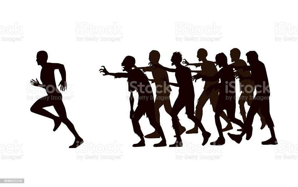 Running away girl silhouette