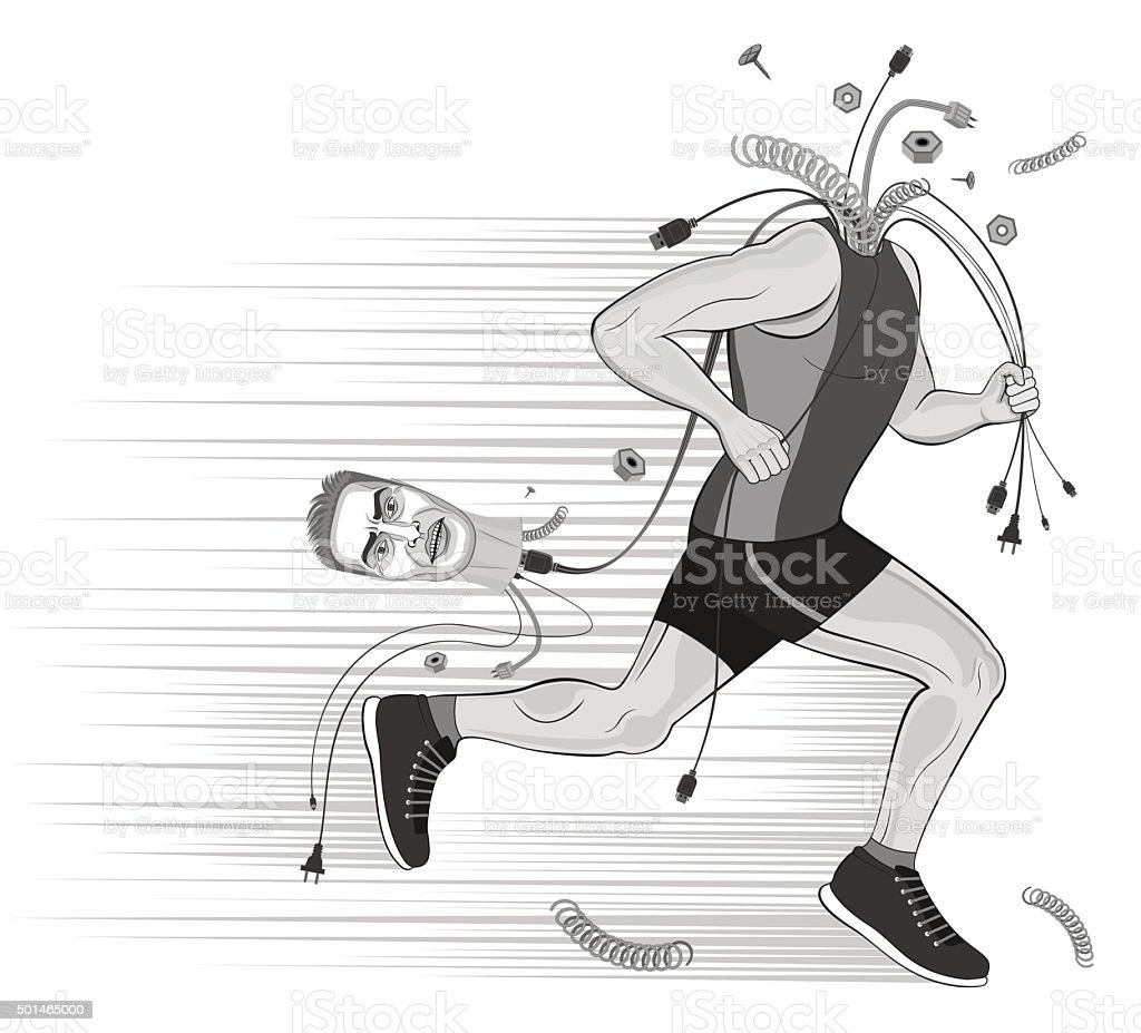 Runner sportsman without head. broken man.doping. get rid of thoughts. vector art illustration