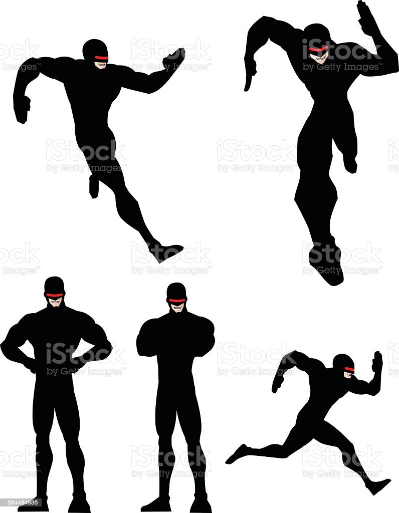 Runner Superhero Silhouette Set vector art illustration