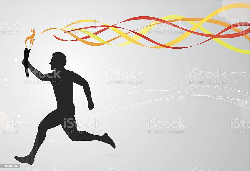 Runner with torch and colourful ribbons vector art illustration