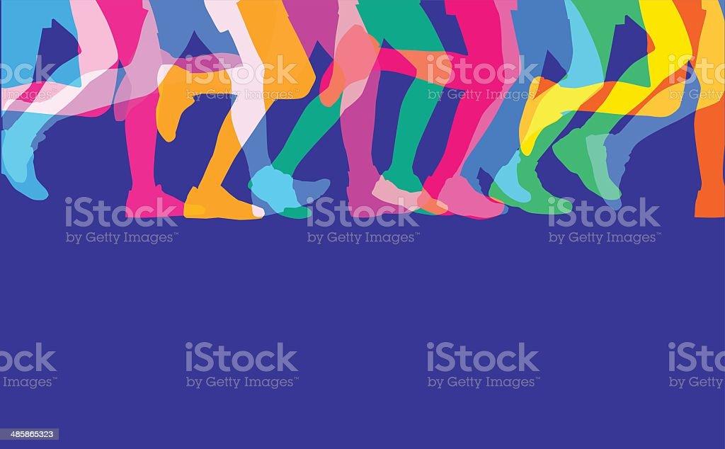 Runners legs sillhouettes vector art illustration