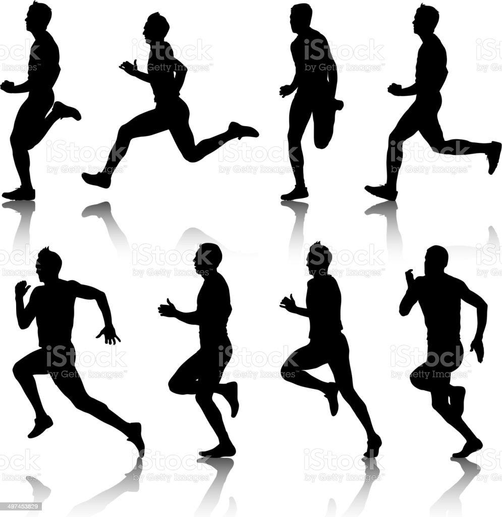 Runners on sprint, men. vector art illustration