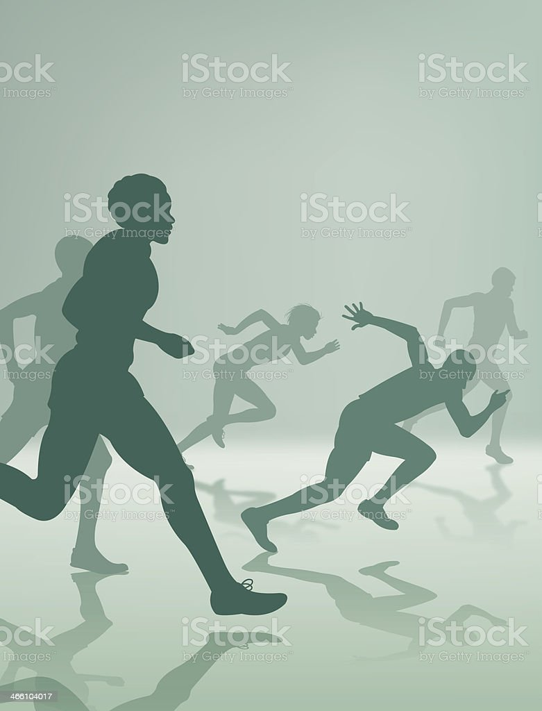 Runners or Joggers, Track and Field Background royalty-free stock vector art
