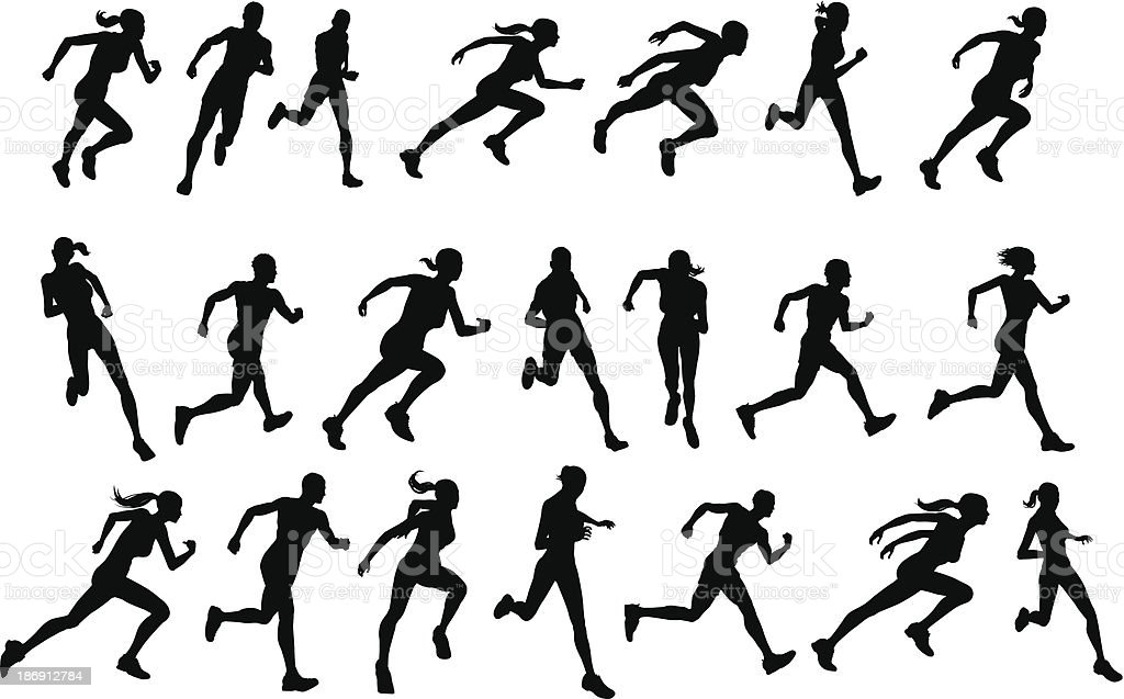 Runners running silhouettes vector art illustration