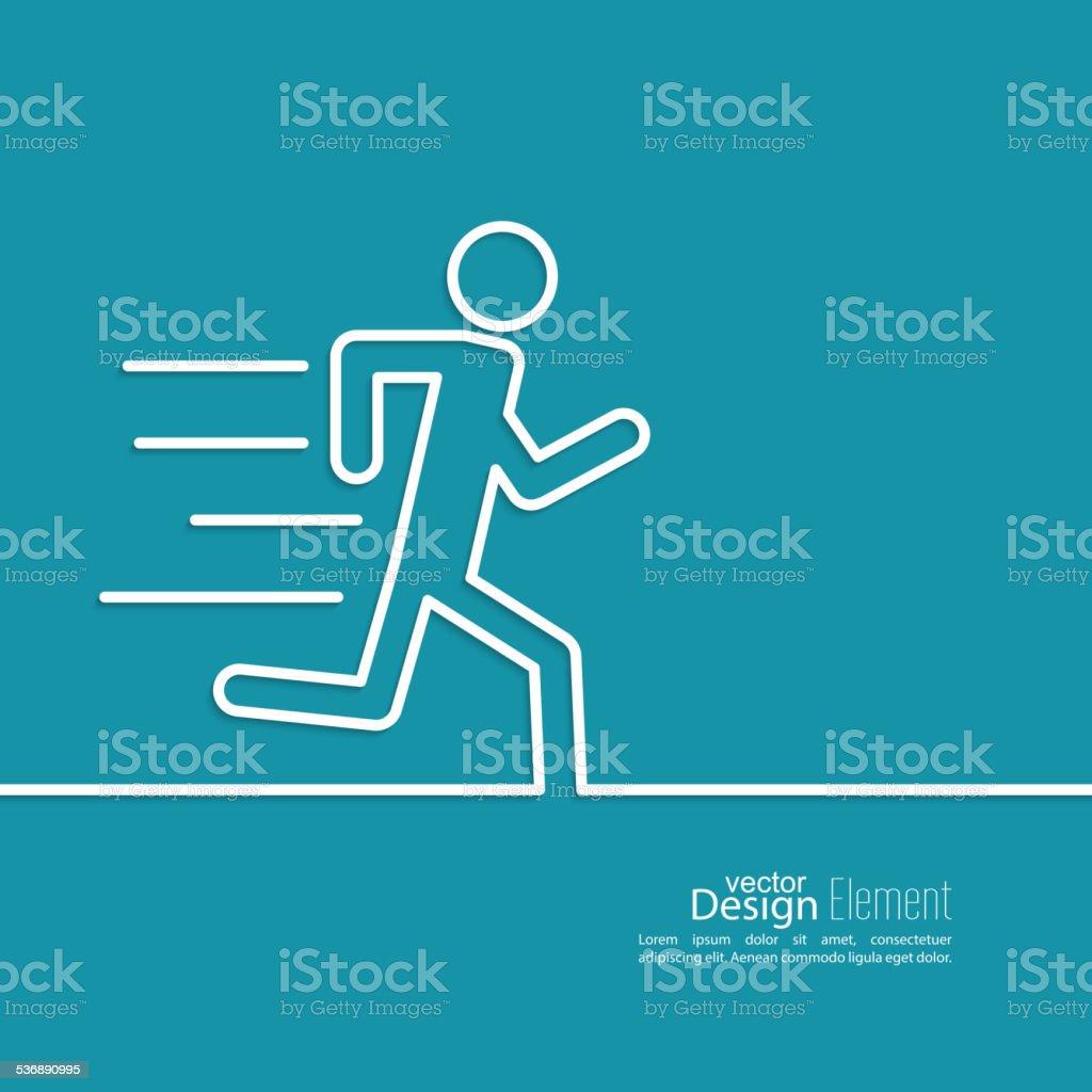 Running a human vector art illustration