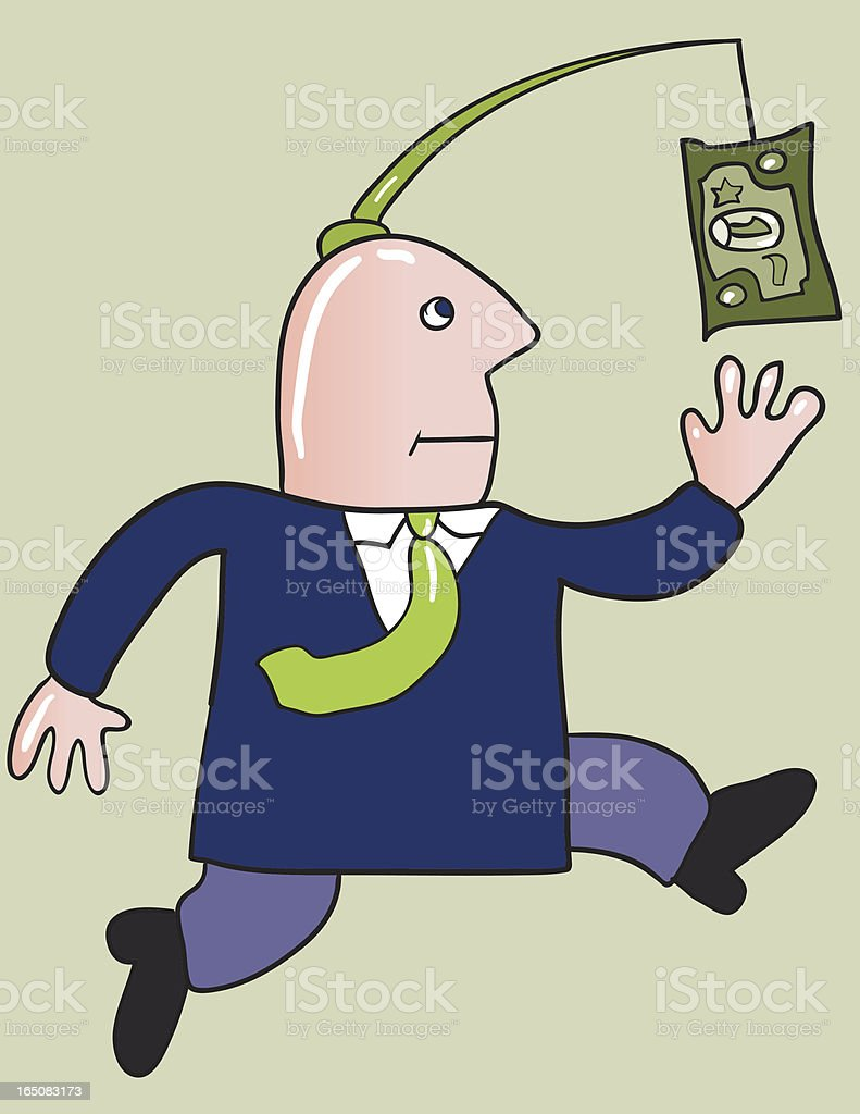 Running after dollar vector art illustration