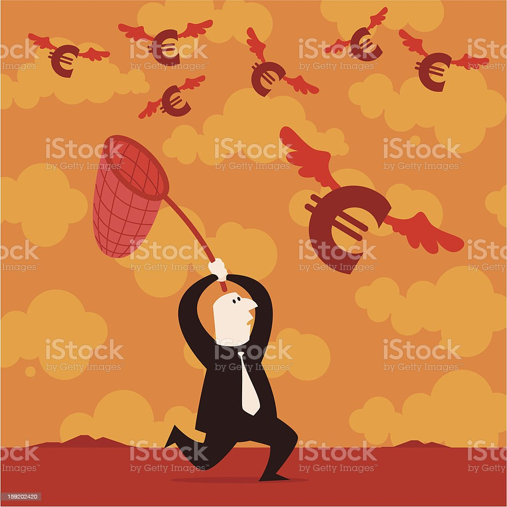 Running After Euros royalty-free stock vector art