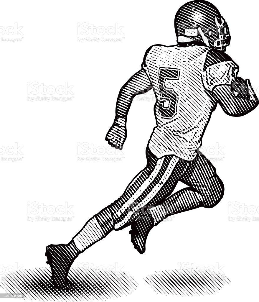 Running Back Scoring Touchdown vector art illustration