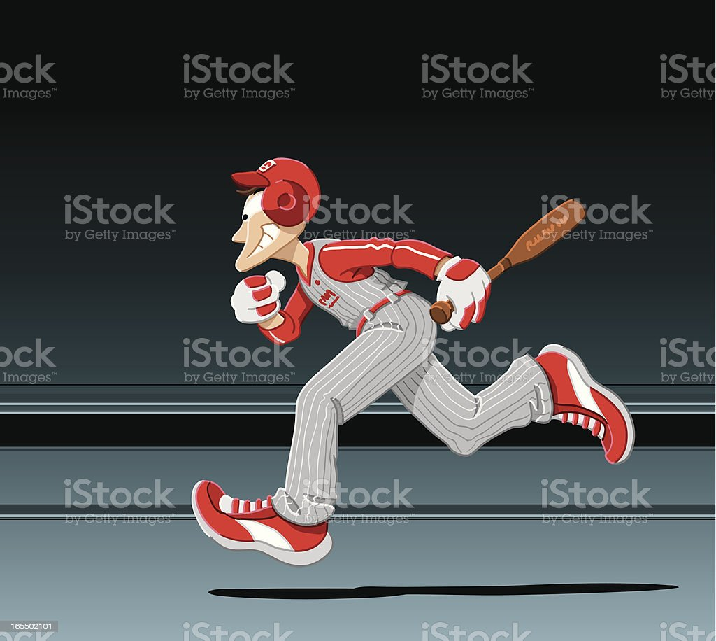 Running Baseball Player vector art illustration