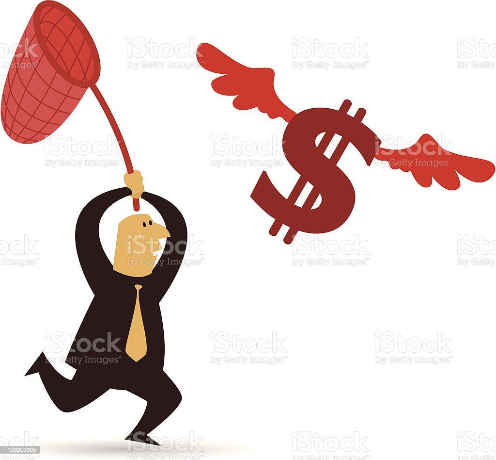 Running Behind Dollars royalty-free stock vector art