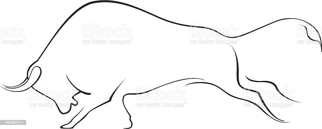 Running Bull vector art illustration