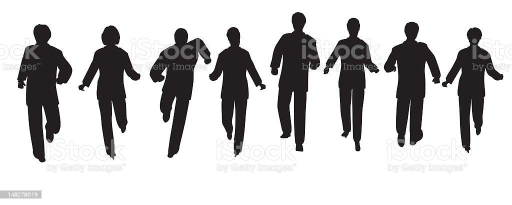 running business people vector art illustration