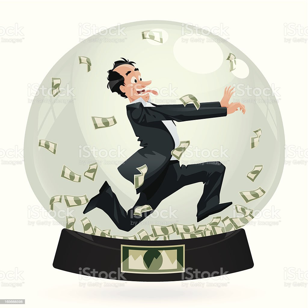 Running Businessman in SnowGlobe royalty-free stock vector art