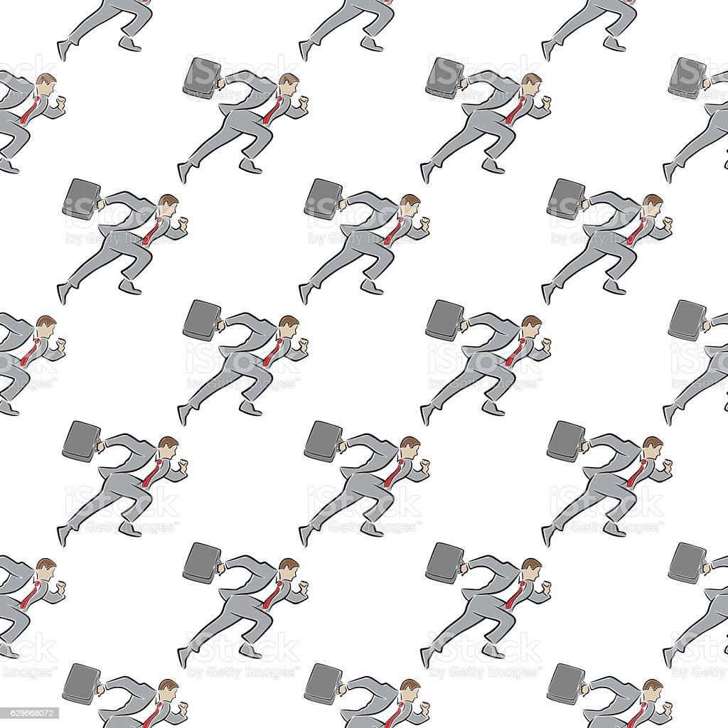 Running Businessman Seamless pattern vector art illustration