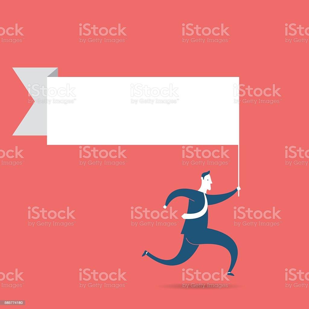 Running businessman vector art illustration