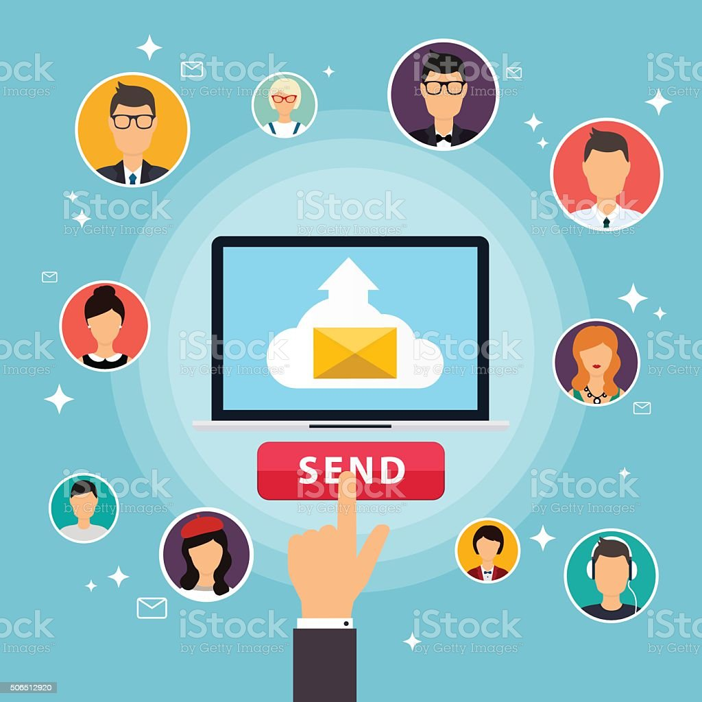 Running campaign, email advertising, direct digital marketing. vector art illustration