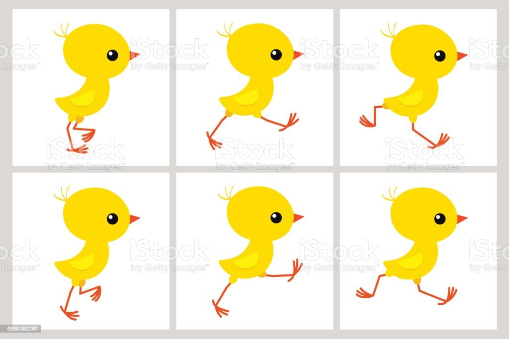 Running chicken animation sprite sheet isolated on white background vector art illustration