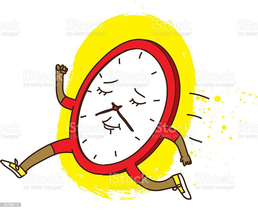 Running Clock Illustration vector art illustration