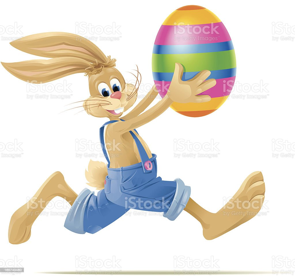 Running Easterbunny with big Easter Egg vector art illustration