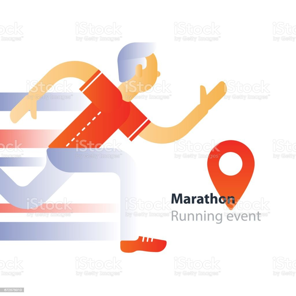 Running event, marathon participation, rushing man, person in motion vector art illustration