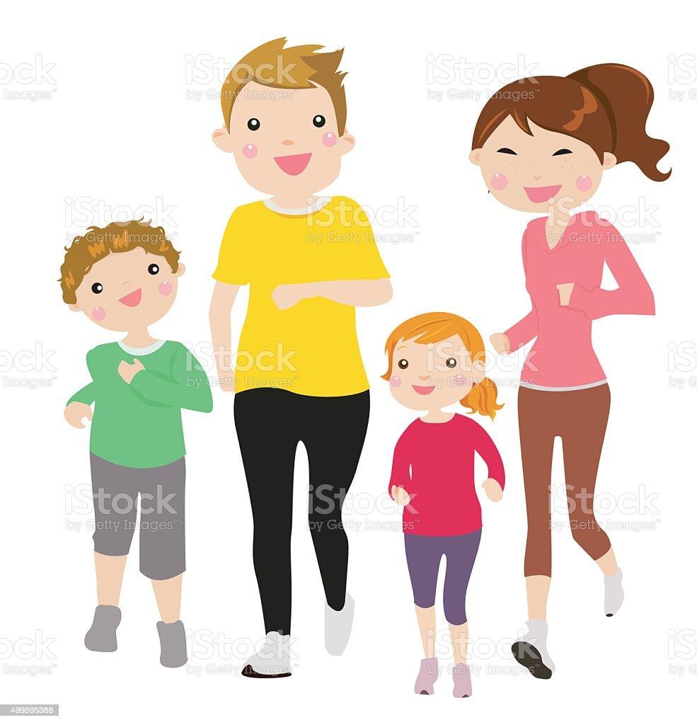 Running Family vector art illustration