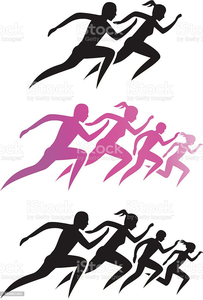 Running Family/Running man and woman royalty-free stock vector art