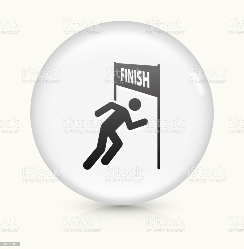 Running Finish Line icon on white round vector button vector art illustration