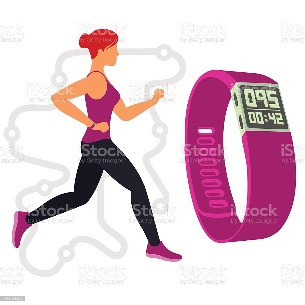 Running. Fitness tracker. 01 vector art illustration