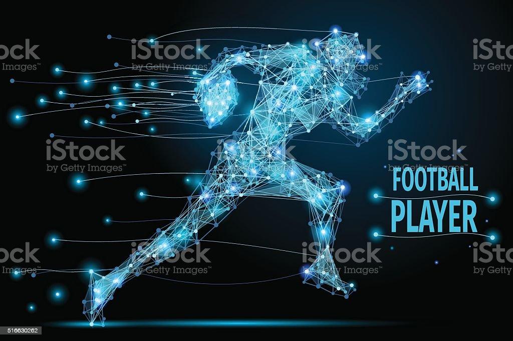 Running footballer polygonal vector art illustration