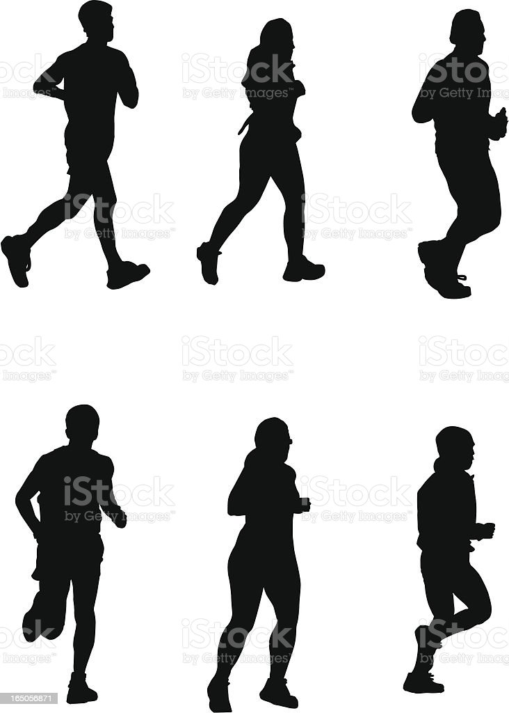 Running for It! (Vector drawing, silhouette, jog, run) royalty-free stock vector art