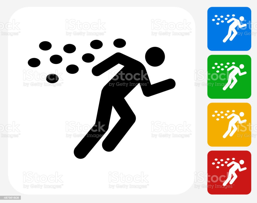 Running From Bees Icon Flat Graphic Design vector art illustration