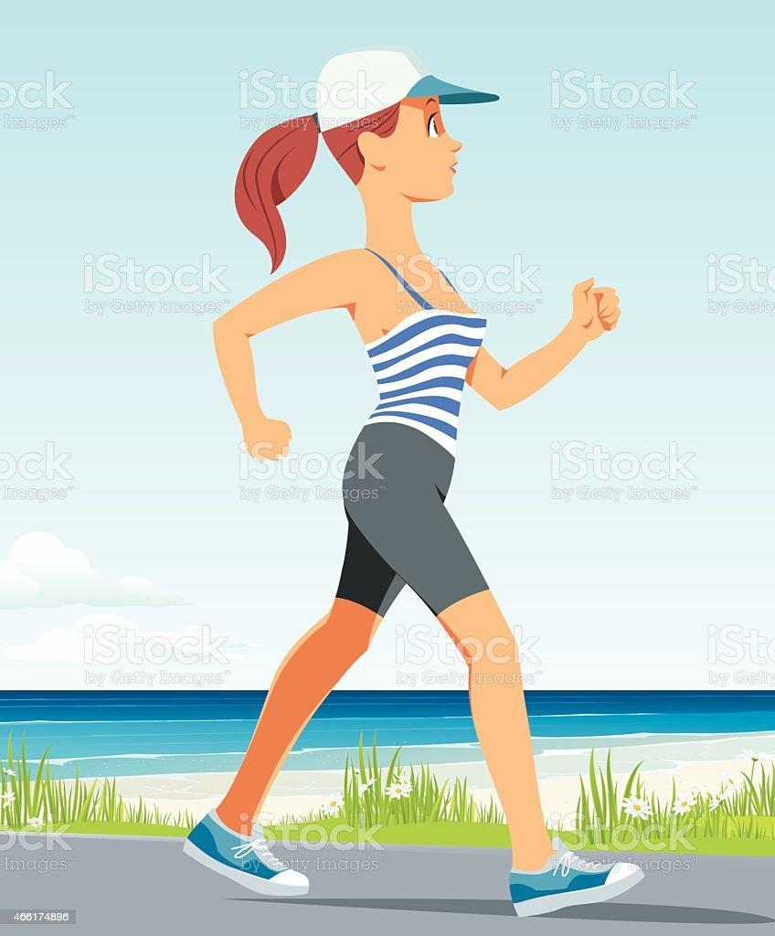 running girl vector art illustration