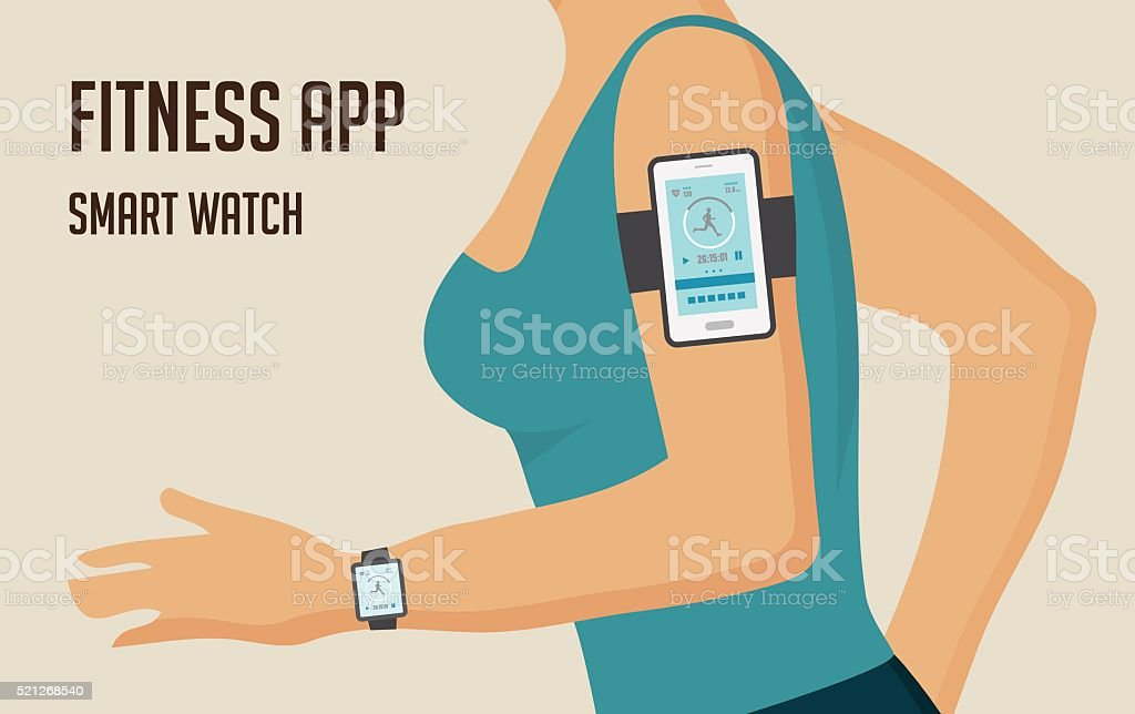 Running girl with a smartphone attached to the shoulder. Sports vector art illustration