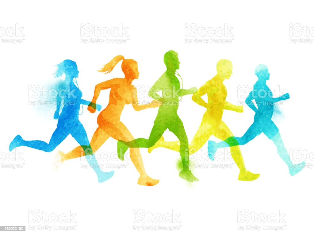 Running group of active people vector art illustration