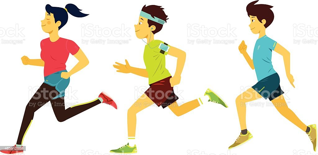Running Group vector art illustration