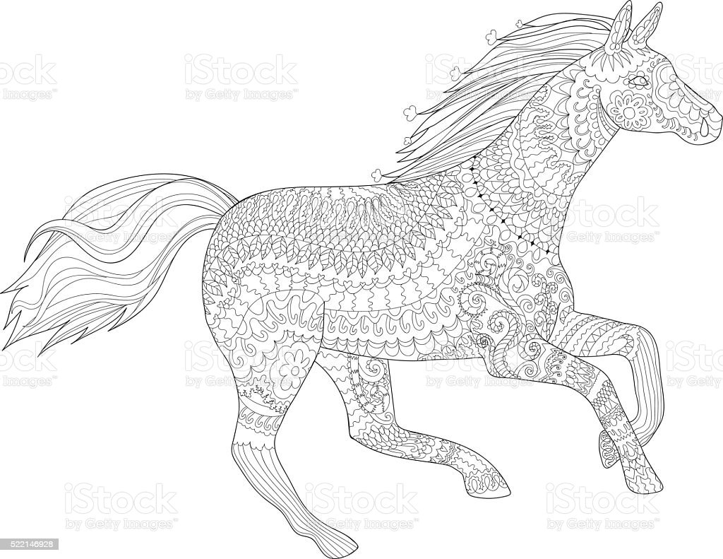 Running horse in style. vector art illustration