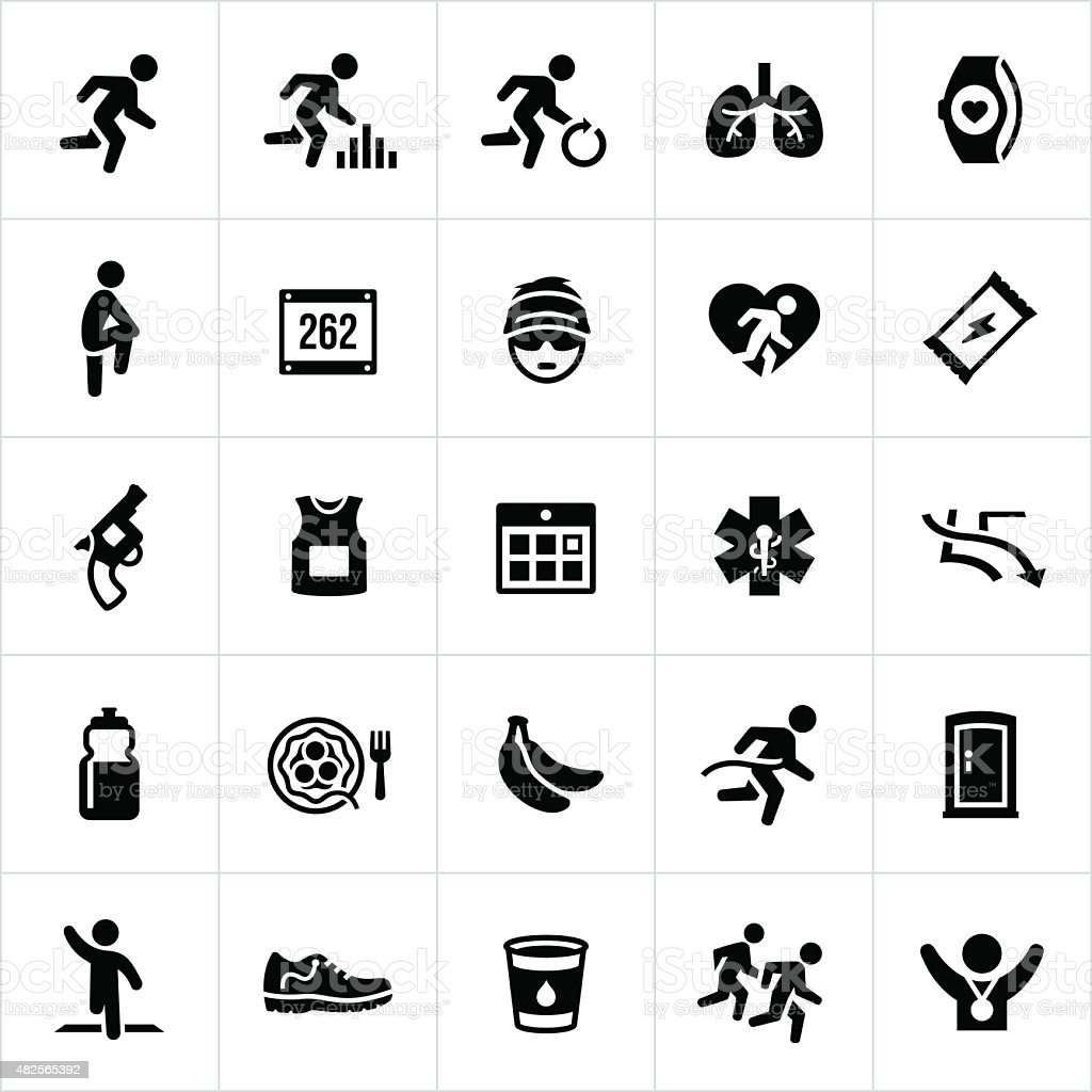 Running Icons vector art illustration
