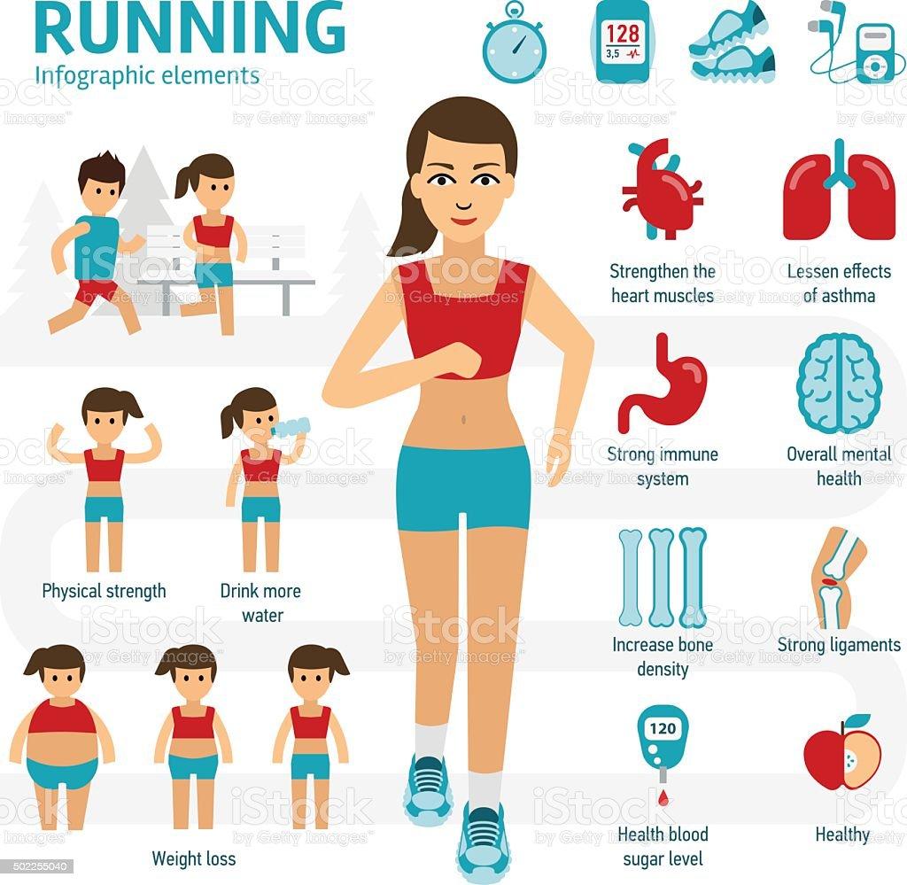Running infographic elements vector art illustration
