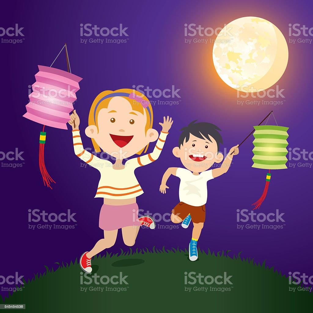Kids at night with moon royalty free stock photography image - Full Moon Jogging Moon Night Running Running Kids Hold The Paper Lantern Under Full Moon Royalty Free Stock
