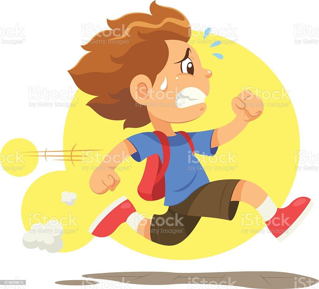 Running Late To School vector art illustration