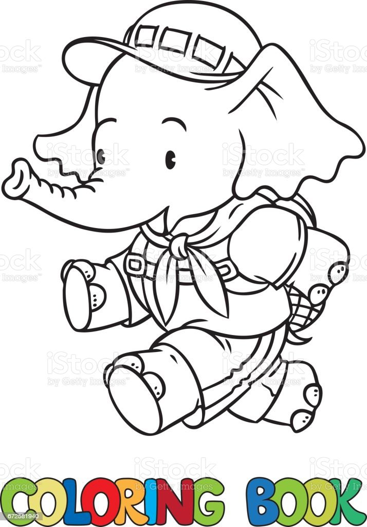 running little baby elephant coloring book scout royalty free stock vector art