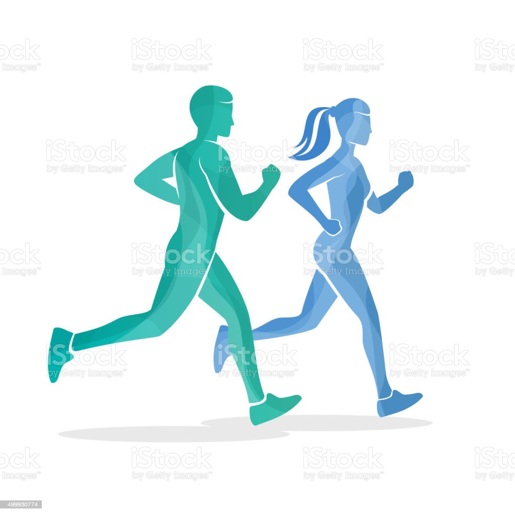 Running man and woman silhouettes vector art illustration